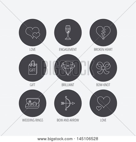 Love heart, gift box and wedding rings icons. Broken heart and engagement linear signs. Valentine amour arrow, brilliant flat line icons. Linear icons in circle buttons. Flat web symbols. Vector