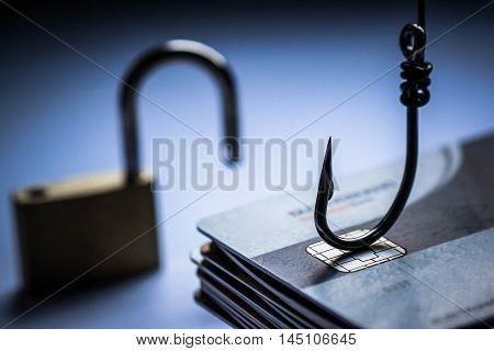 credit card phishing attack / credit card data theft concept