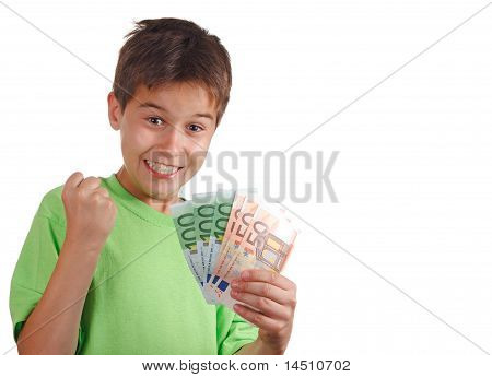 Happy Boy mit Geld