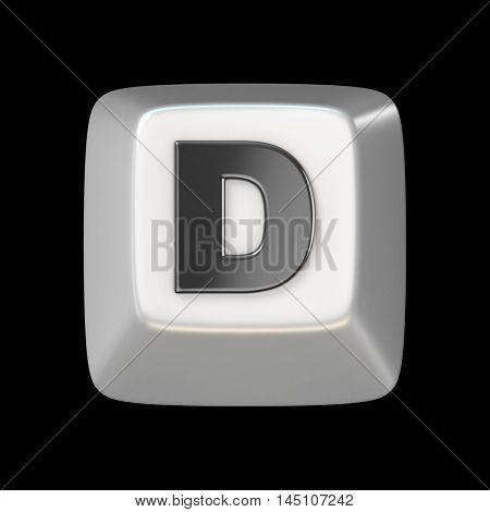 Computer Keyboard Key Font. Letter D 3D