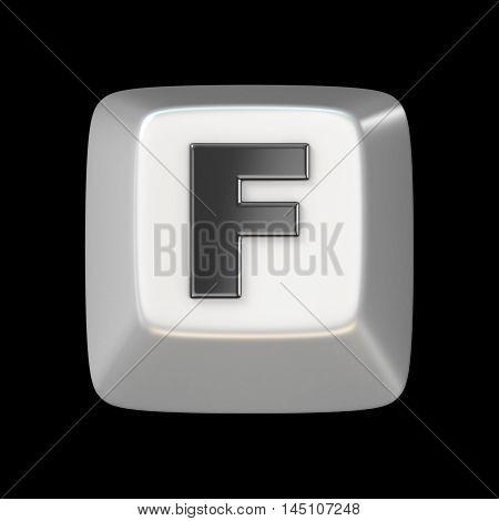 Computer Keyboard Key Font. Letter F 3D