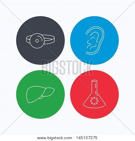 Lab bulb, medical mirror and liver organ icons. Ear linear sign. Linear icons on colored buttons. Flat web symbols. Vector