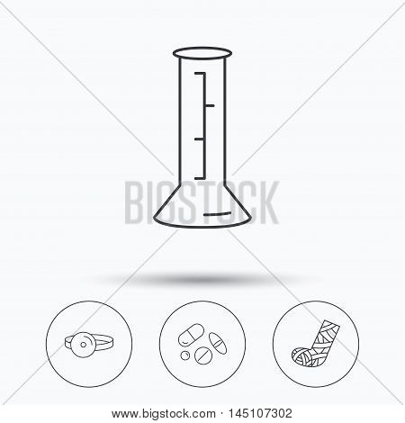 Gypsum, lab beaker and medical pills icons. Medical mirror linear sign. Linear icons in circle buttons. Flat web symbols. Vector