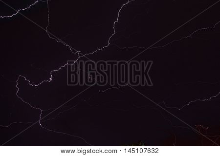 Lighting Strike at Night Black Background