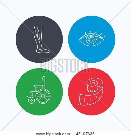 Vein varicose, wheelchair and weight loss icons. Eye linear sign. Linear icons on colored buttons. Flat web symbols. Vector