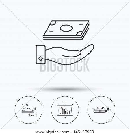 Banking, cash money and statistics icons. Money flow, save money linear sign. Linear icons in circle buttons. Flat web symbols. Vector