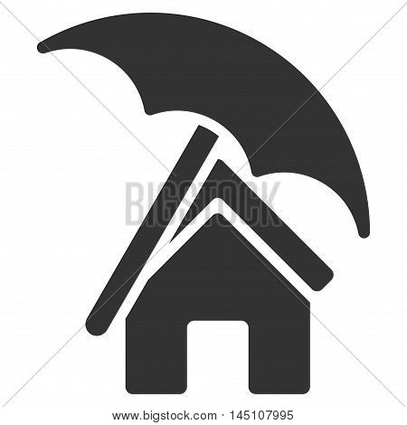 Home under Umbrella icon. Vector style is flat iconic symbol, gray color, white background.