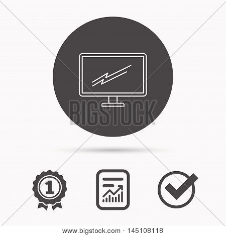 PC monitor icon. Led TV sign. Widescreen display symbol. Report document, winner award and tick. Round circle button with icon. Vector