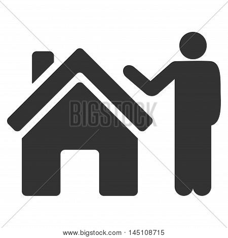 Realty Buyer icon. Vector style is flat iconic symbol, gray color, white background.