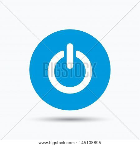 On, off power icon. Energy switch symbol. Blue circle button with flat web icon. Vector