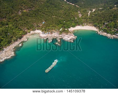 Aerial view of the beach with a barge Koh Phangan, Thailand