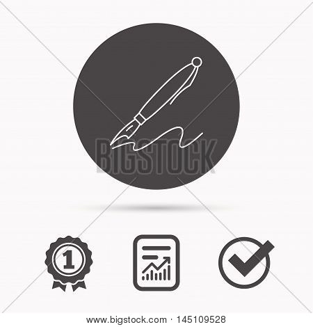 Pen icon. Writing tool sign. Report document, winner award and tick. Round circle button with icon. Vector