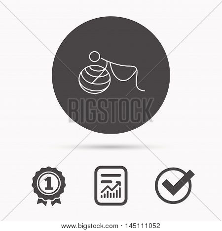 Gymnastic for pregnant icon. Pilates fitness sign. Sport workout symbol. Report document, winner award and tick. Round circle button with icon. Vector