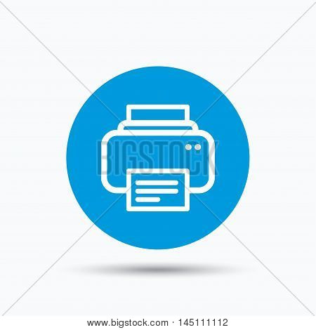 Printer icon. Print documents technology symbol. Blue circle button with flat web icon. Vector