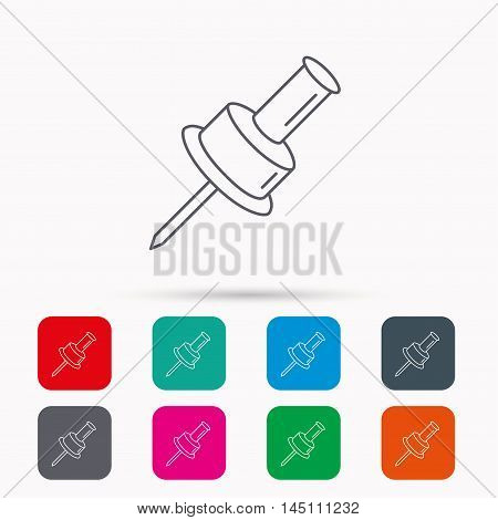 Pushpin icon. Pin tool sign. Office stationery symbol. Linear icons in squares on white background. Flat web symbols. Vector