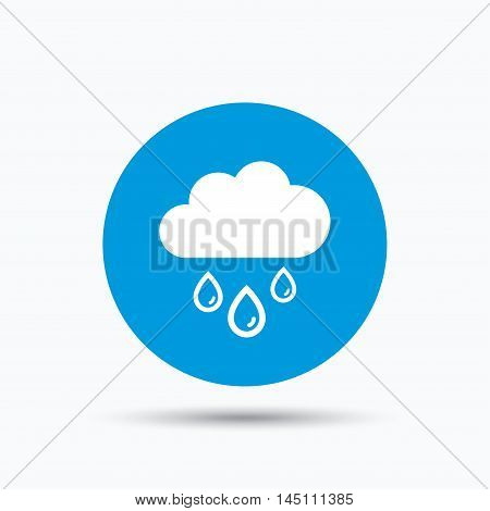 Cloud with rain drops icon. Rainy day symbol. Blue circle button with flat web icon. Vector