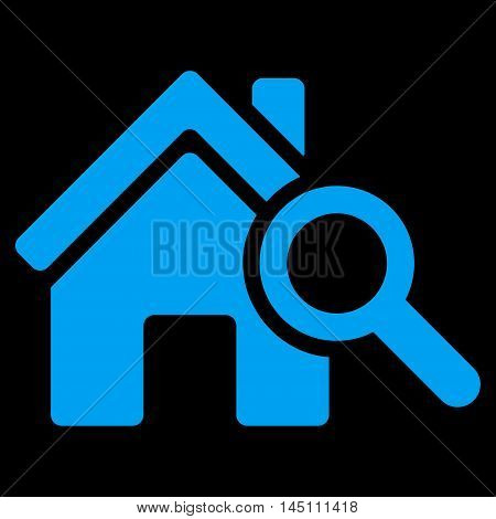Explore House icon. Vector style is flat iconic symbol, blue color, black background.