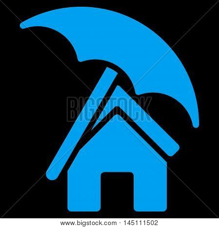 Home under Umbrella icon. Vector style is flat iconic symbol, blue color, black background.