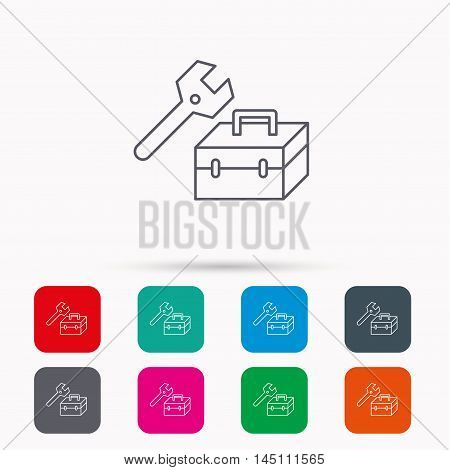 Repair toolbox icon. Wrench key sign. Linear icons in squares on white background. Flat web symbols. Vector