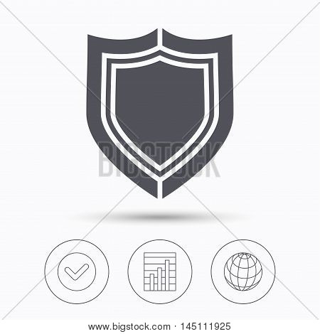 Shield protection icon. Defense equipment symbol. Check tick, graph chart and internet globe. Linear icons on white background. Vector