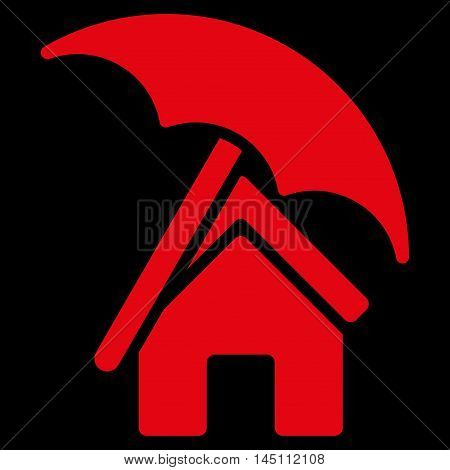 Home under Umbrella icon. Vector style is flat iconic symbol, red color, black background.