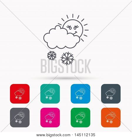 Snow with sun icon. Snowflakes with cloud sign. Snowy overcast symbol. Linear icons in squares on white background. Flat web symbols. Vector