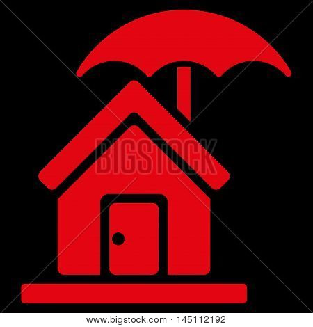 House under Umbrella icon. Vector style is flat iconic symbol, red color, black background.