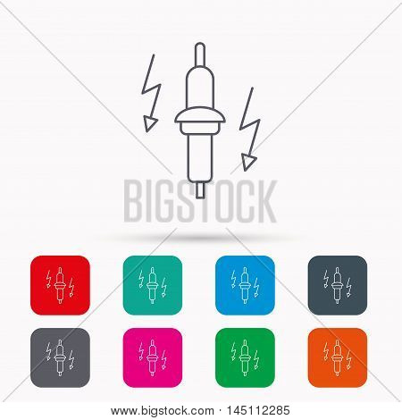 Spark plug icon. Car electric part sign. Linear icons in squares on white background. Flat web symbols. Vector