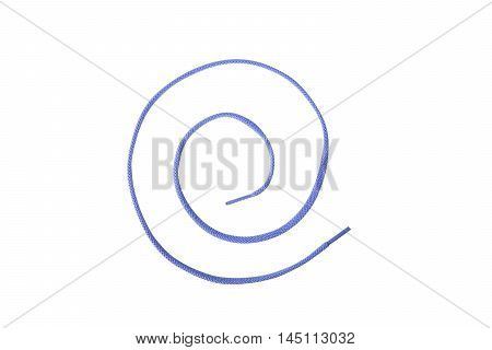 A blue colored shoelace shaped into a spiral isolated on white