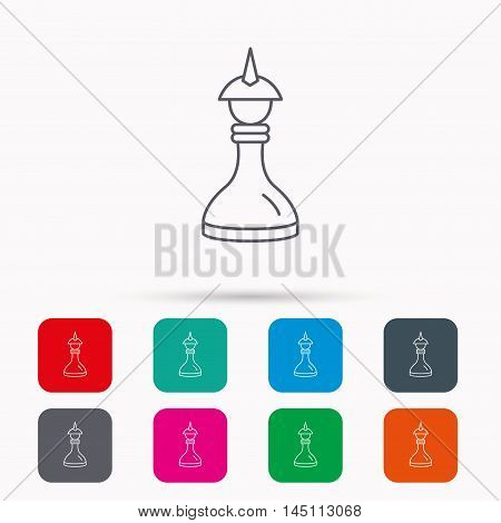 Strategy icon. Chess queen or king sign. Mind game symbol. Linear icons in squares on white background. Flat web symbols. Vector