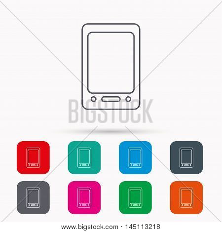 Tablet PC icon. Touchscreen pad sign. Linear icons in squares on white background. Flat web symbols. Vector
