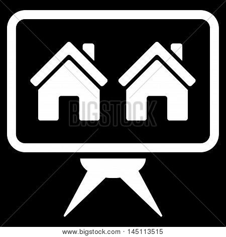Realty Project icon. Vector style is flat iconic symbol, white color, black background.