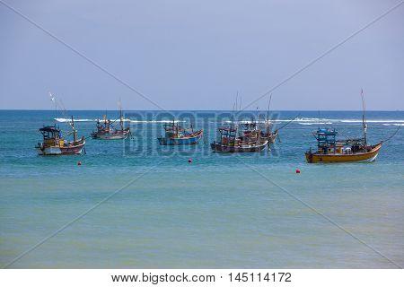 Fishing boats in the indian ocean Sri Lanka