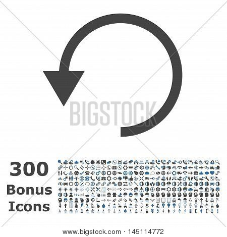 Rotate Ccw icon with 300 bonus icons. Glyph illustration style is flat iconic bicolor symbols, cobalt and gray colors, white background.