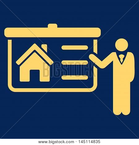 House Presentation icon. Vector style is flat iconic symbol, yellow color, blue background.