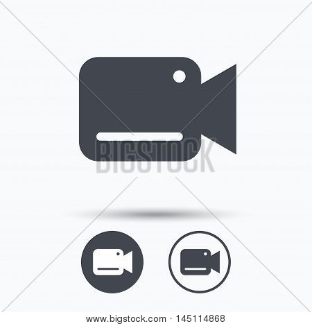 Video camera icon. Film recording cam symbol. Security monitoring. Circle buttons with flat web icon on white background. Vector