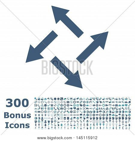 Centrifugal Arrows icon with 300 bonus icons. Glyph illustration style is flat iconic bicolor symbols, cyan and blue colors, white background.