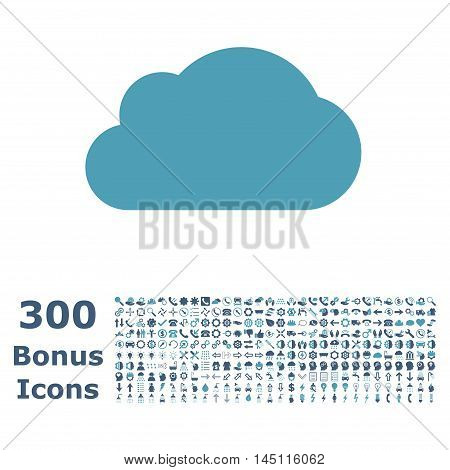Cloud icon with 300 bonus icons. Glyph illustration style is flat iconic bicolor symbols, cyan and blue colors, white background.