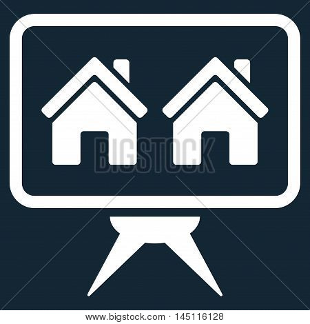 Realty Project icon. Vector style is flat iconic symbol, white color, dark blue background.