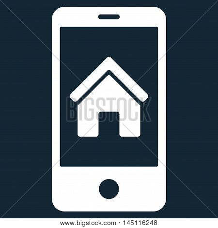 Smartphone Homepage icon. Vector style is flat iconic symbol, white color, dark blue background.