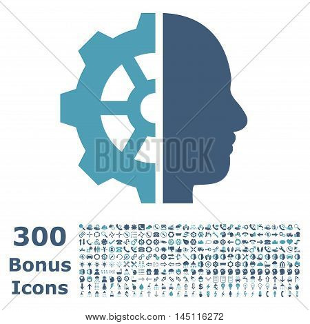 Cyborg Gear icon with 300 bonus icons. Glyph illustration style is flat iconic bicolor symbols, cyan and blue colors, white background.