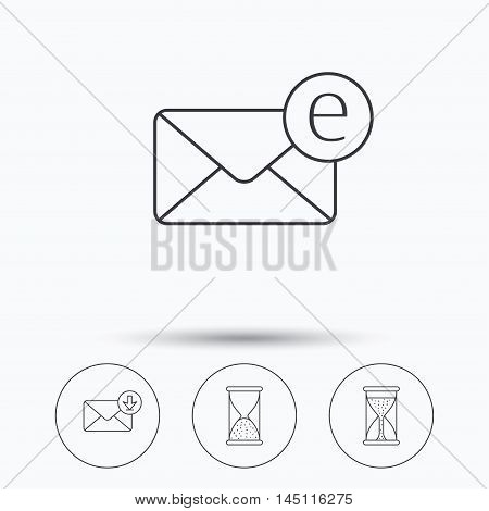 Hourglass, inbox mail and e-mail icons. Hourglass linear sign. Linear icons in circle buttons. Flat web symbols. Vector