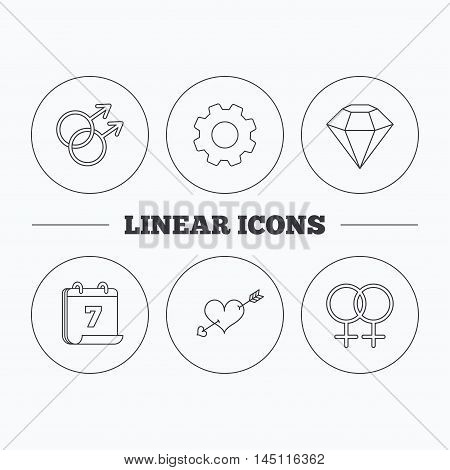 Love heart, diamond and lesbian love icons. Gay love linear sign. Flat cogwheel and calendar symbols. Linear icons in circle buttons. Vector