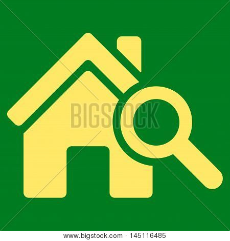 Explore House icon. Vector style is flat iconic symbol, yellow color, green background.