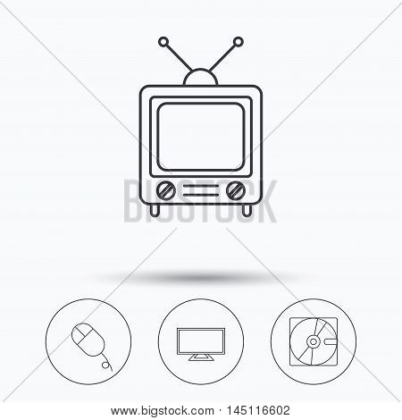 Hard disk, pc mouse and retro tv icons. Widescreen TV linear sign. Linear icons in circle buttons. Flat web symbols. Vector