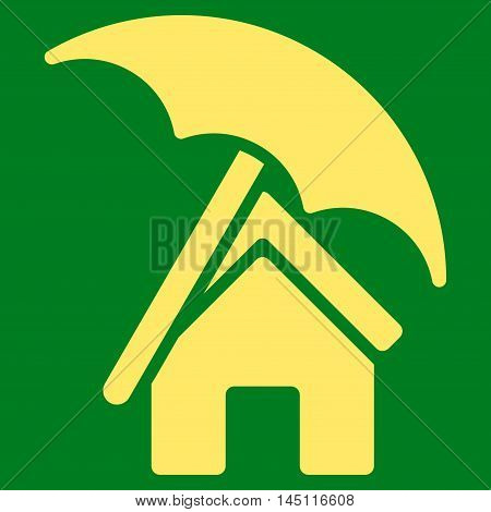 Home under Umbrella icon. Vector style is flat iconic symbol, yellow color, green background.