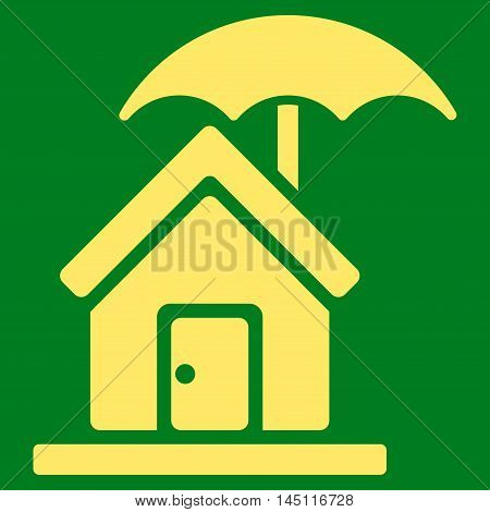 House under Umbrella icon. Vector style is flat iconic symbol, yellow color, green background.