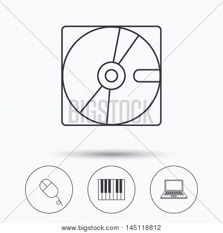 Hard disk, pc mouse and notebook laptop icons. Piano linear sign. Linear icons in circle buttons. Flat web symbols. Vector
