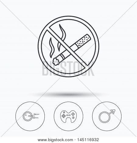 No smoking, family planning and game joystick icons. Male linear sign. Linear icons in circle buttons. Flat web symbols. Vector