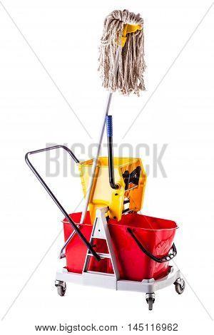 Mop Bucket On White